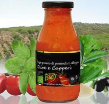 Sugo Biologico di Pomodoro Ciliegino con Olive Nere e Capperi